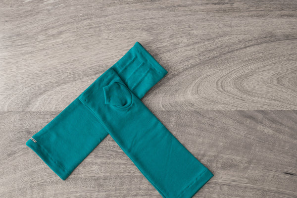 chic mid-length fingerless gloves from bamboo-teal www.aylagloves.com