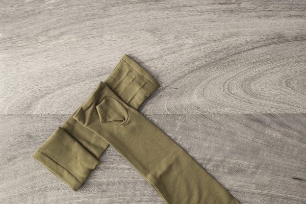 long fingerless gloves made from bamboo-military green  www.aylagloves