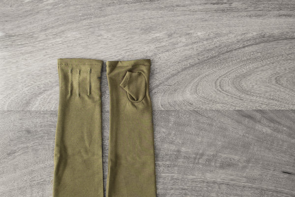 long fingerless gloves made from bamboo-military green   www.aylagloves.com