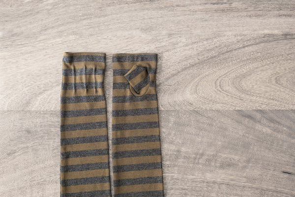 long fingerless gloves made from bamboo-khaki and charcoal grey striped  www.aylagloves.com