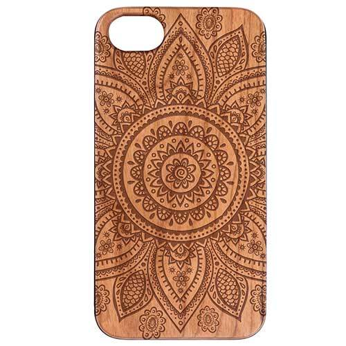 Wood crafted Phone case with Floral Mandela design