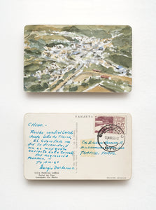 Watercolor Art on vintage postcard by mexican artist Javier Areán. Guanajuato. Postcard art