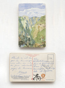 Watercolor Art on vintage postcard by mexican artist Javier Areán. Cañon del Sumidero. Postcard art