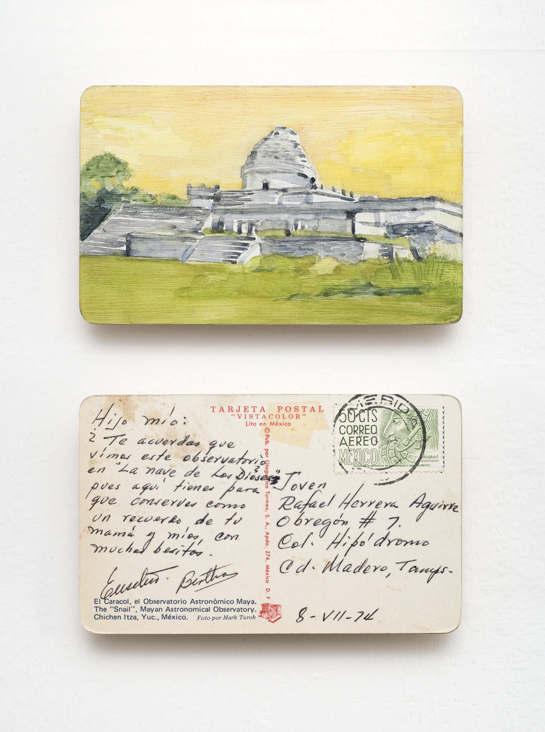 Watercolor Art on vintage postcard by mexican artist Javier Areán. Observatorio