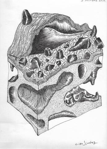 Drawing by Cisco Jiménez, ink on paper, Geología, Geology