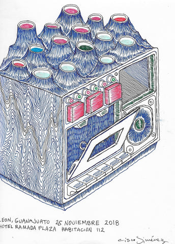 DRawing by Mexican artist Cisco Jiménez, casette recorder.