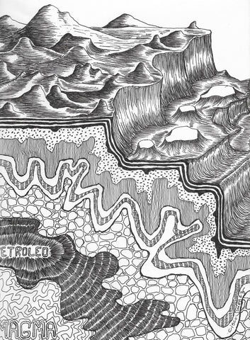Drawing by Mexican artist Cisco Jiménez, Ink on paper, Geology, Petroleo