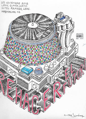 Drawing by Mexican artist Cisco Jiménez, Ink on paper, Rehacer el fututo, Turntable