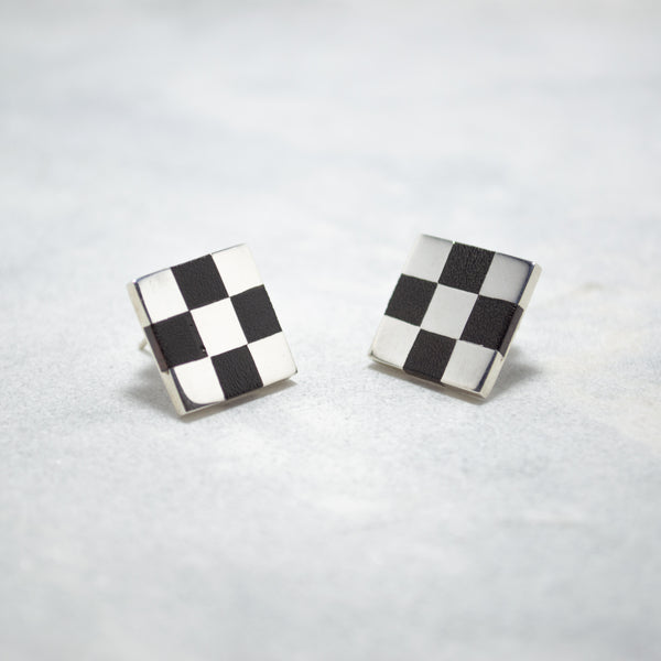 Violante Ulrich. Chess earrings. Sterling Silver. Ebony wood inlay.