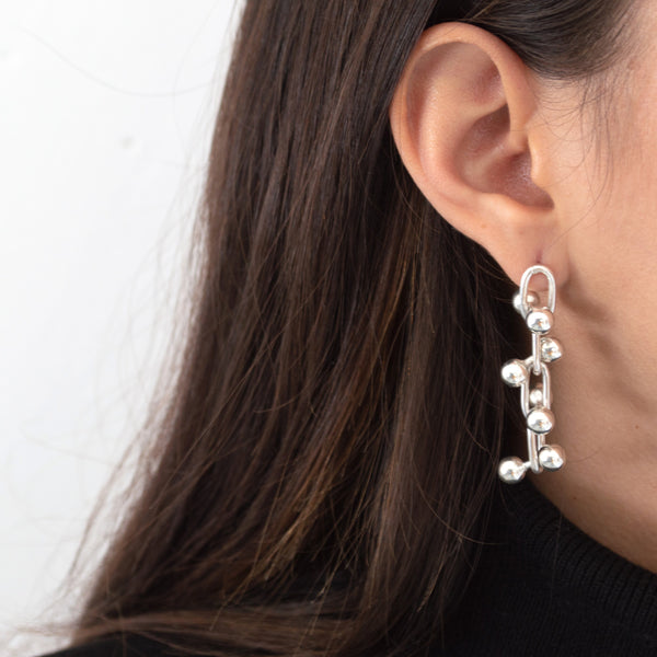 William Spratling earrings, William Spratling design, Plata mexicana, Mexican silver, Taxco, Caviar earrings