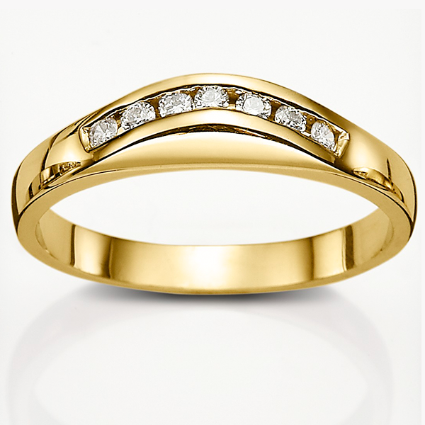 18ct Gold 0.14ct Diamond Curved Wedding Band