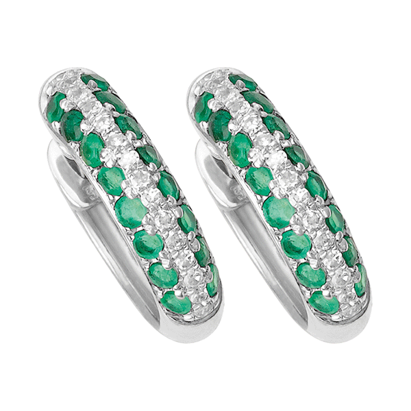 9ct Gold Emerald & Diamond Huggies