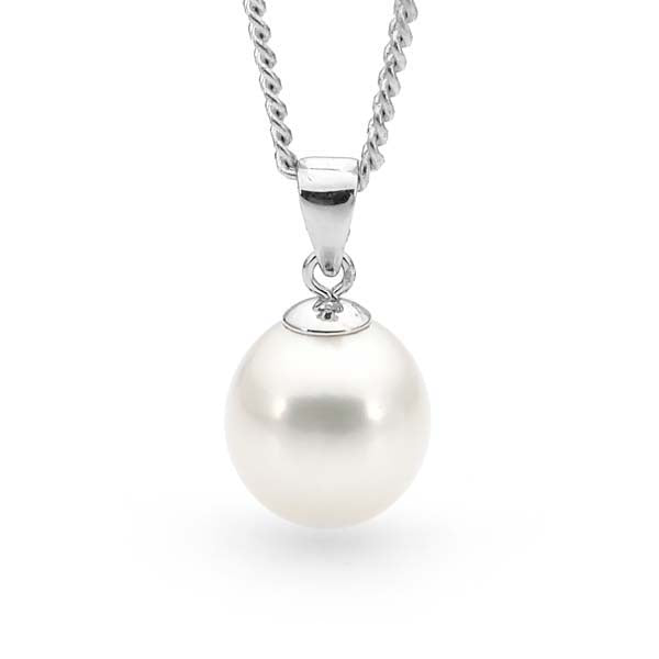 9ct White Gold White 10-10.5mm Freshwater Pearl Pendant