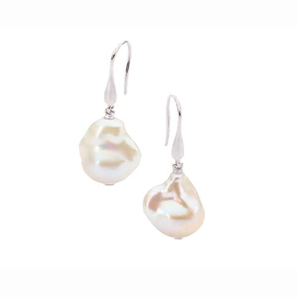 9ct White Gold White Baroque Freshwater Pearl 12-14mm Hook Earrings
