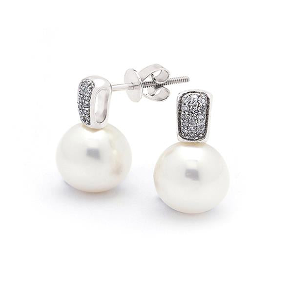 9ct White Gold White Drop 9mm Freshwater Pearl Dia. Earrings