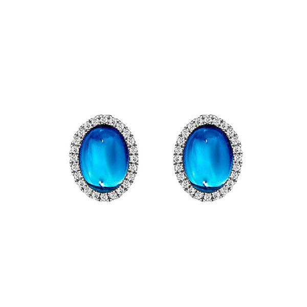 Temptation 9Ct White Gold Blue Topaz Earrings