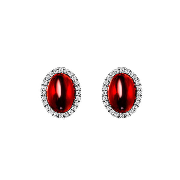 Temptation 9Ct White Gold Garnet Earrings