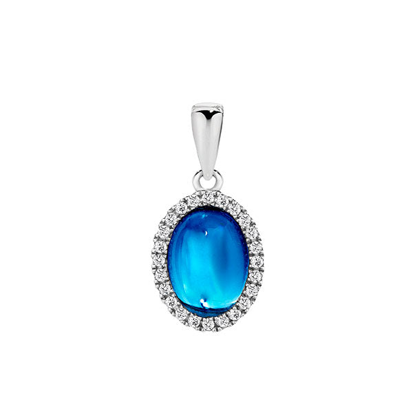 Temptation 9Ct White Gold Blue Topaz Pendant