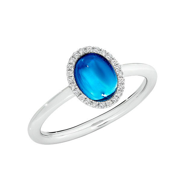 Temptation 9Ct White Gold Blue Topaz Ring