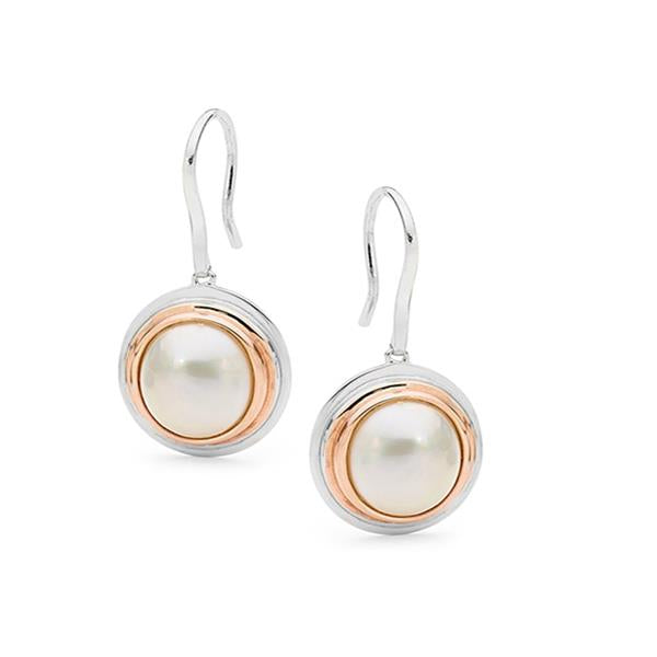 Sterling Silver 8x10mm White Mabe Rose Gold Plated Shepherd Hook Earrings