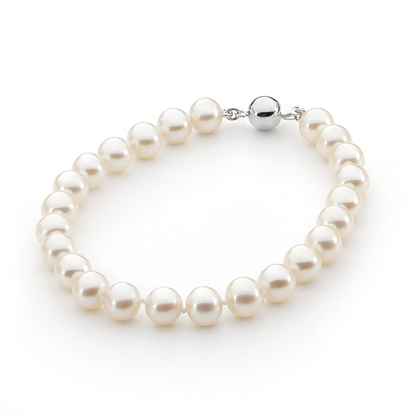 White Round 8mm Freshwater Pearl Bracelet Sterling Silver Clasp