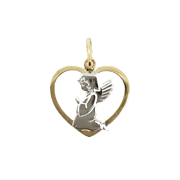 9ct 2 tone open heart angel pendant