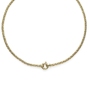 9ct Gold Bonded Silver Wheat Necklet with Bolt Ring Clasp 47cm