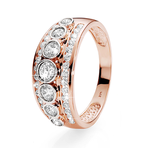 9ct Rose Gold 3-Row Cubic Zirconia Ring