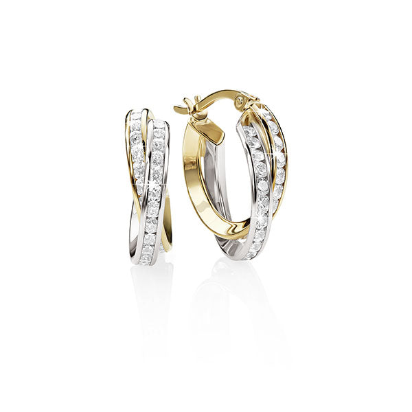 9ct YG/WG CZ Double Row CZ Hoop Earrings