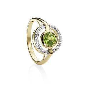 9ct YG round peridot & diamond halo ring