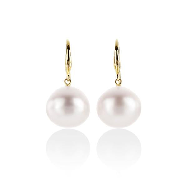 9ct Yellow Gold 13-15mm south sea Pearl earrings