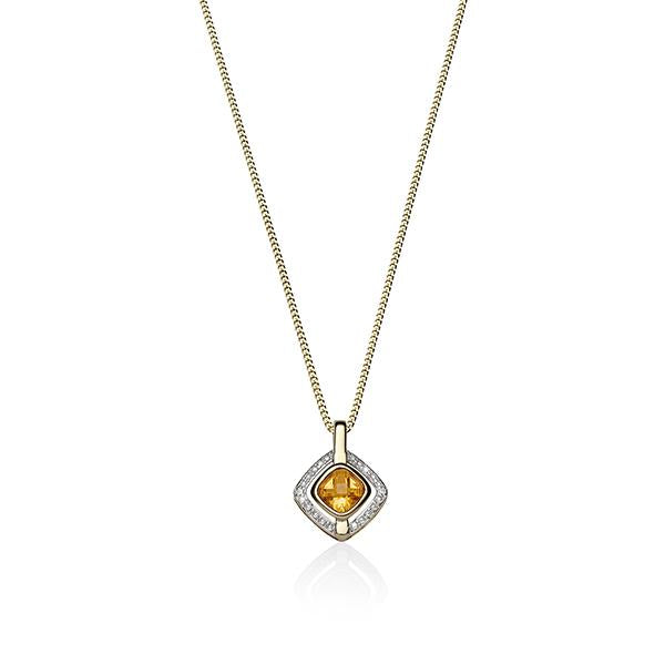 9ct cushion citrine & diamond pendant