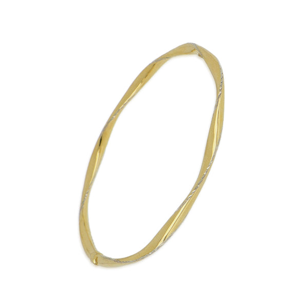 9ct dia cut ribbon twist 65mm bangle