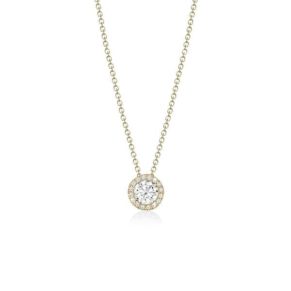 9ct gold cubic zirconia Halo pendant & chain
