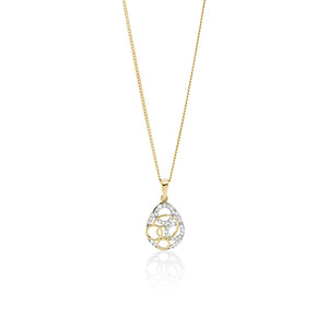 9ct gold cubic zirconia open circle pendant