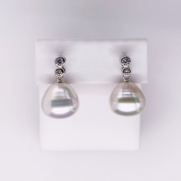 Arafura Sterling silver south sea pearl earrings