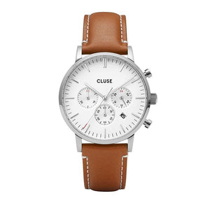 CLUSE Aravis Chrono Leather Silver White/Light Brown