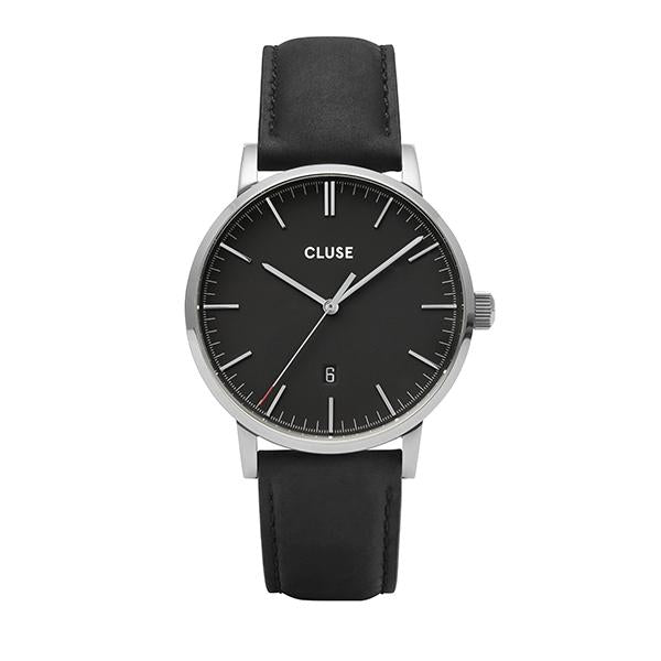 CLUSE Aravis Leather Silver Black/Black