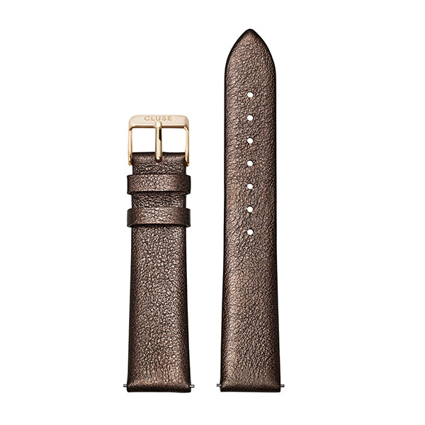 CLUSE Strap 18 mm Leather Chocolate Brown Metallic/ Gold