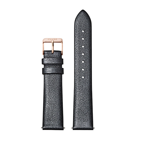 CLUSE Strap 18 mm Leather Dark Grey Metallic/ Rose Gold