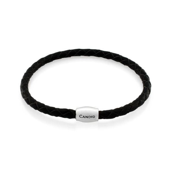 Candid Black Plaited Leather Bracelet