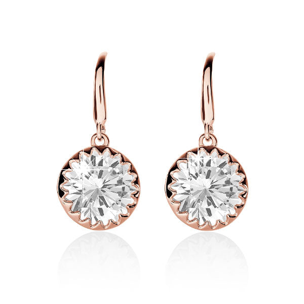 Sterling Silver Rose Gold Plated Cubic Zirconia Earrings