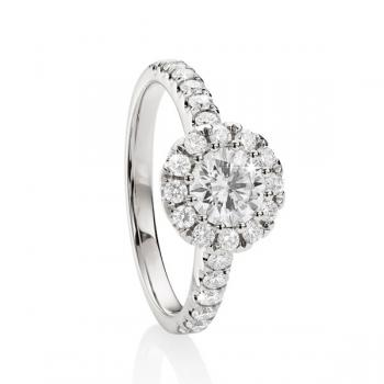 MP5600 18ct gold 1ct TDW claw set diamond ring with french pave halo and shoulders.