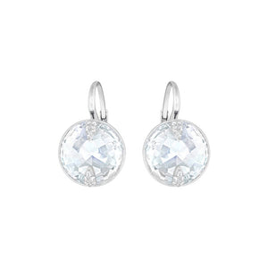SWAROVSKI GLOBE EARRINGS, RHODIUM PLATED