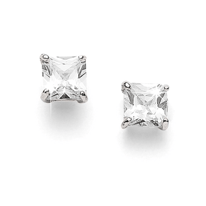Silver 4mm Princess Cut Sterling Silver Cubic Zirconia Studs