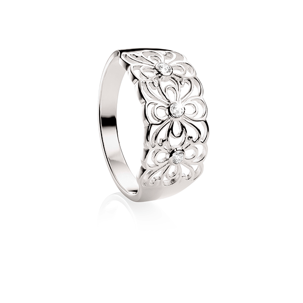 Sterling Silver Cubic Zirconia Flower Ring