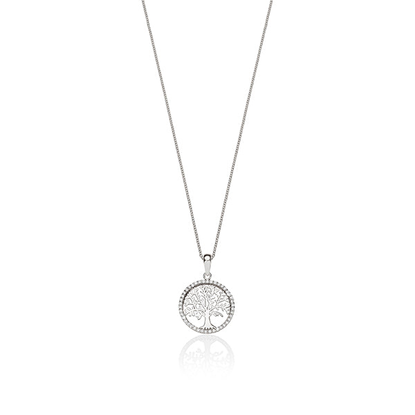 sterling silver cubic zirconia tree of life pendant