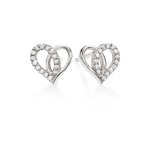 streling silver cubic zirconia heart earrings studs