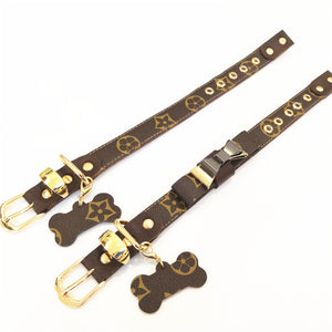 LV Pawtton Dog Collar&Leash Set With Bowtie