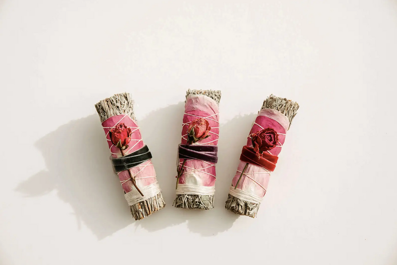 Blue Sage + Roses Smudge Stick - Beauty by Dolly